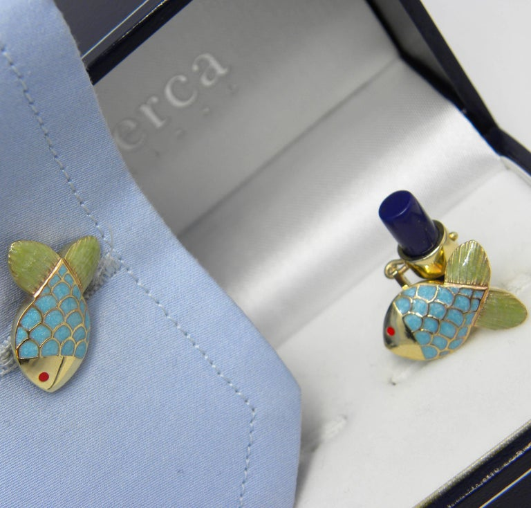 Men's Hand Enamelled Little Fish Shaped Lapis Stick Back Yellow Gold Cufflinks For Sale