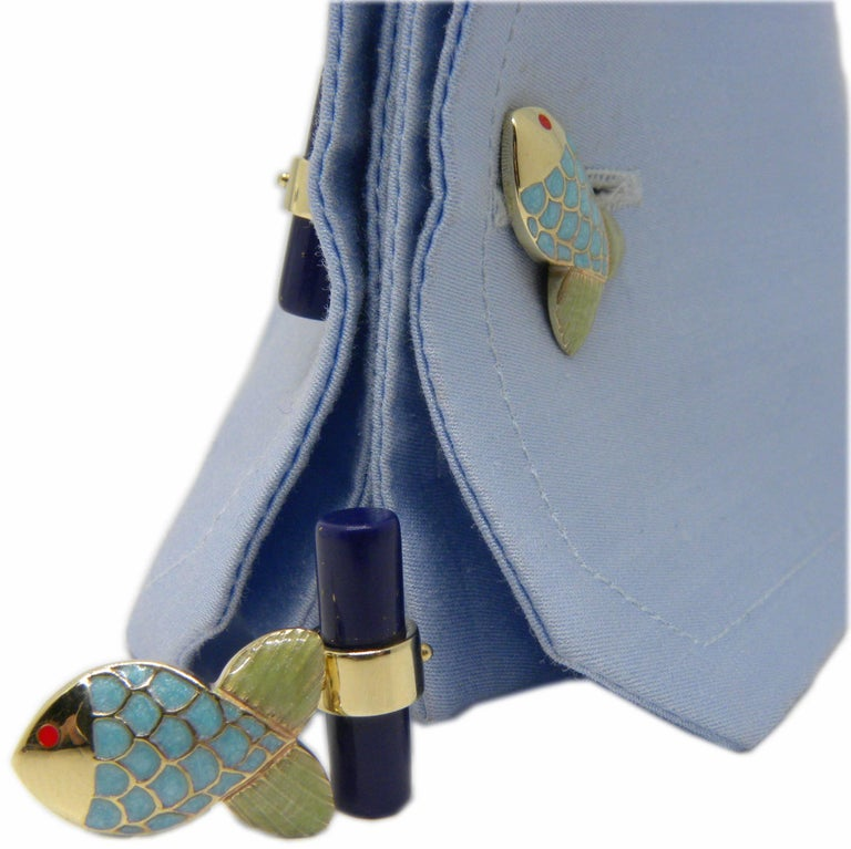 Hand Enamelled Little Fish Shaped Lapis Stick Back Yellow Gold Cufflinks For Sale 2