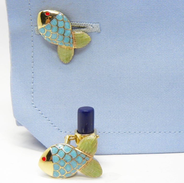 Hand Enamelled Little Fish Shaped Lapis Stick Back Yellow Gold Cufflinks For Sale 3