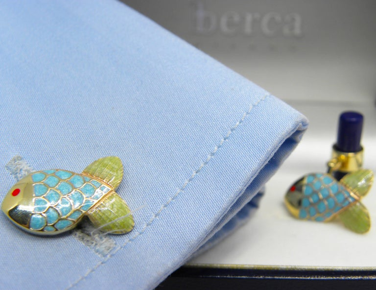 Contemporary Hand Enamelled Little Fish Shaped Lapis Stick Back Yellow Gold Cufflinks For Sale
