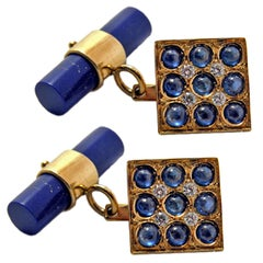 Blue Sapphires Cabochon White Diamond Lapis Stick Back 18 Carat Gold Cufflinks