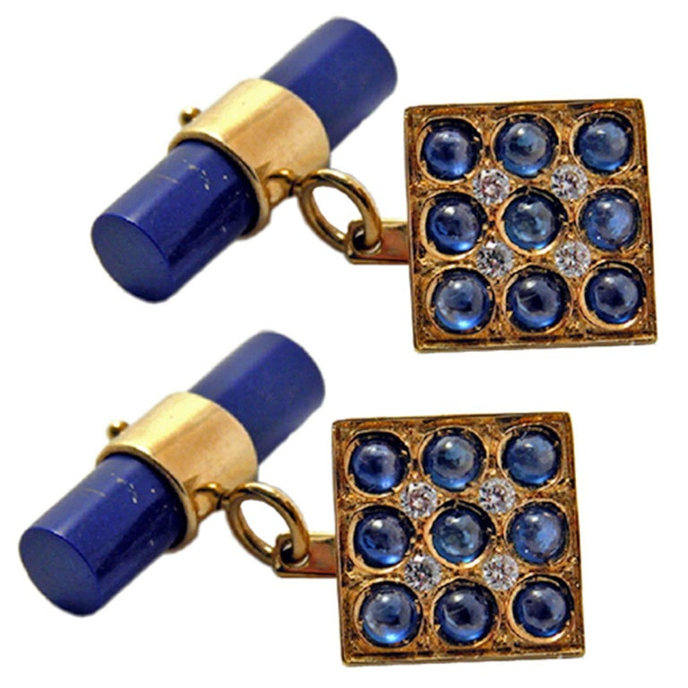 Blue Sapphires Cabochon White Diamond Lapis Stick Back 18 Carat Gold Cufflinks  For Sale