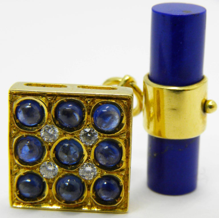 One-of-a-kind Square Cufflinks Combining the Blue of Natural Sapphire Cabochon with 0.16 Carat White Round Diamonds in an 18kt Yellow Gold Setting, Natural Hand Inlaid Lapis Baton Back.