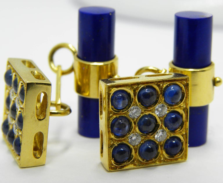 Contemporary Blue Sapphires Cabochon White Diamond Lapis Stick Back 18 Carat Gold Cufflinks  For Sale