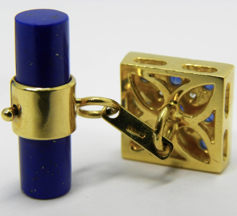 2.06 Carat Sapphire Cabochon Diamond Lapis Stick Back 18 Carat Gold Cufflinks In As New Condition For Sale In Valenza, IT