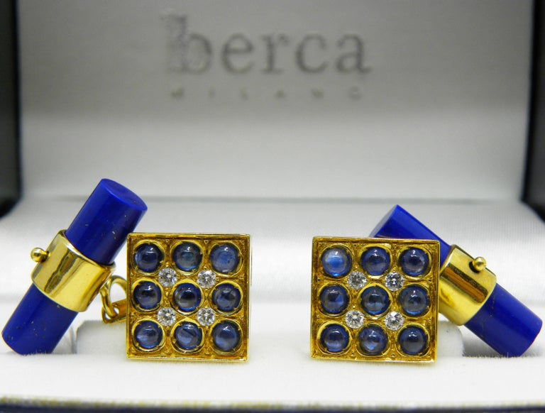 Men's Blue Sapphires Cabochon White Diamond Lapis Stick Back 18 Carat Gold Cufflinks  For Sale