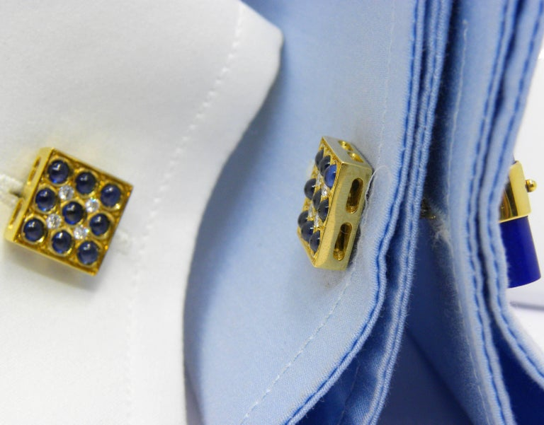 Blue Sapphires Cabochon White Diamond Lapis Stick Back 18 Carat Gold Cufflinks  For Sale 1