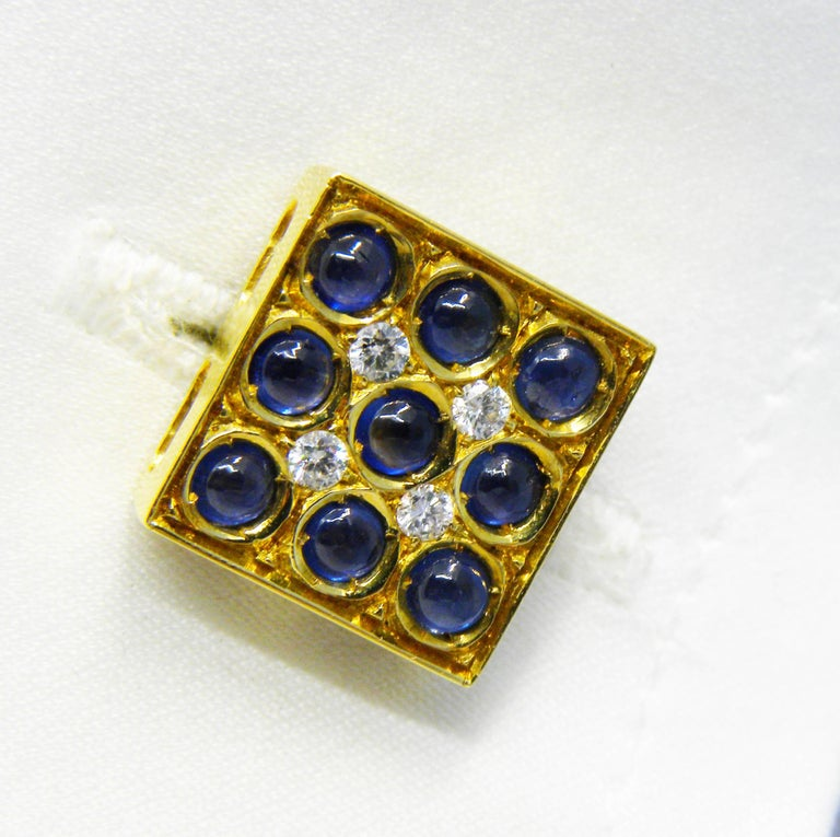 Blue Sapphires Cabochon White Diamond Lapis Stick Back 18 Carat Gold Cufflinks  For Sale 2