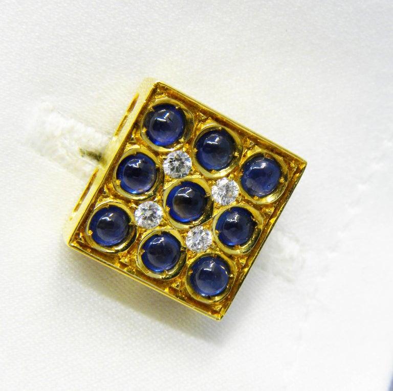2.06 Carat Sapphire Cabochon Diamond Lapis Stick Back 18 Carat Gold Cufflinks For Sale 3