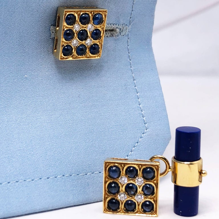 2.06 Carat Sapphire Cabochon Diamond Lapis Stick Back 18 Carat Gold Cufflinks For Sale 2