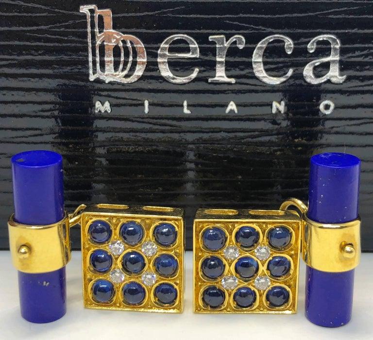 2.06 Carat Sapphire Cabochon Diamond Lapis Stick Back 18 Carat Gold Cufflinks For Sale 4
