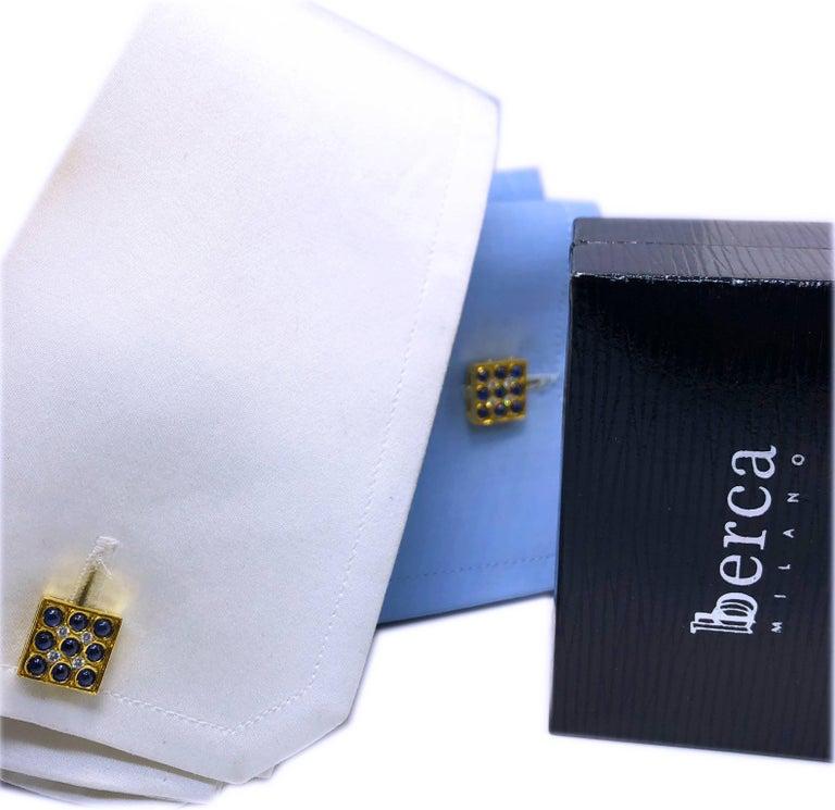 2.06 Carat Sapphire Cabochon Diamond Lapis Stick Back 18 Carat Gold Cufflinks For Sale 10