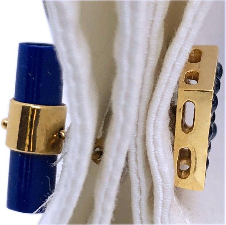 2.06 Carat Sapphire Cabochon Diamond Lapis Stick Back 18 Carat Gold Cufflinks For Sale 8