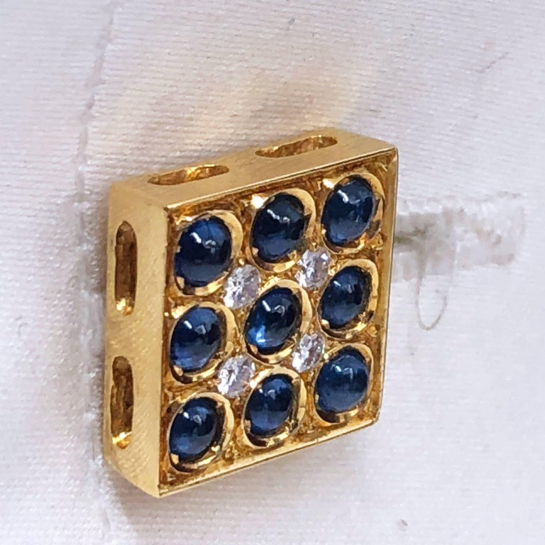 2.06 Carat Sapphire Cabochon Diamond Lapis Stick Back 18 Carat Gold Cufflinks For Sale 9