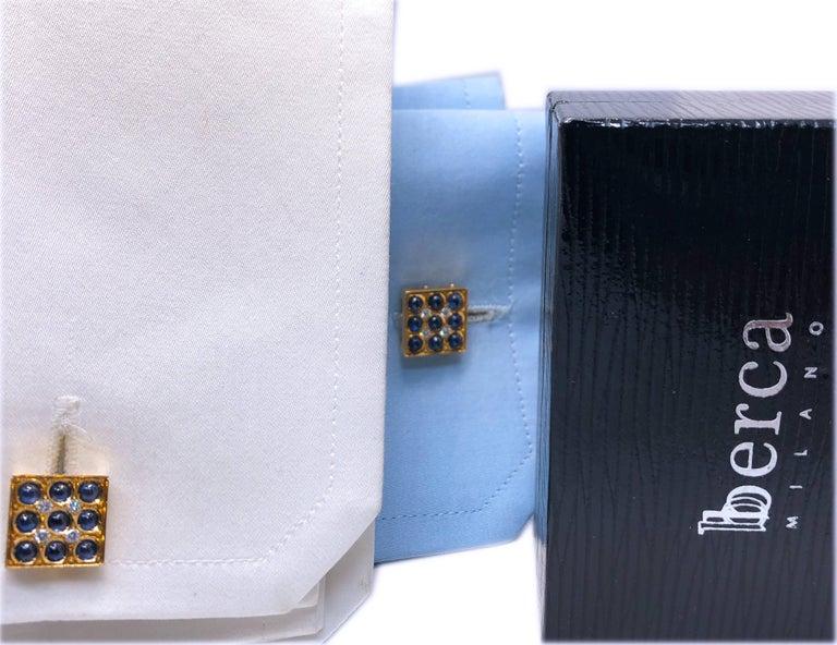2.06 Carat Sapphire Cabochon Diamond Lapis Stick Back 18 Carat Gold Cufflinks For Sale 5