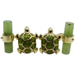 Hand Enamelled Little Turtle Shaped Jade Stick Back Yellow Gold Cufflinks
