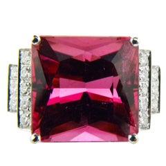 GIA Certified 16.54 Carat Octagonal Cut Pink Tourmaline Diamond Cocktail Ring