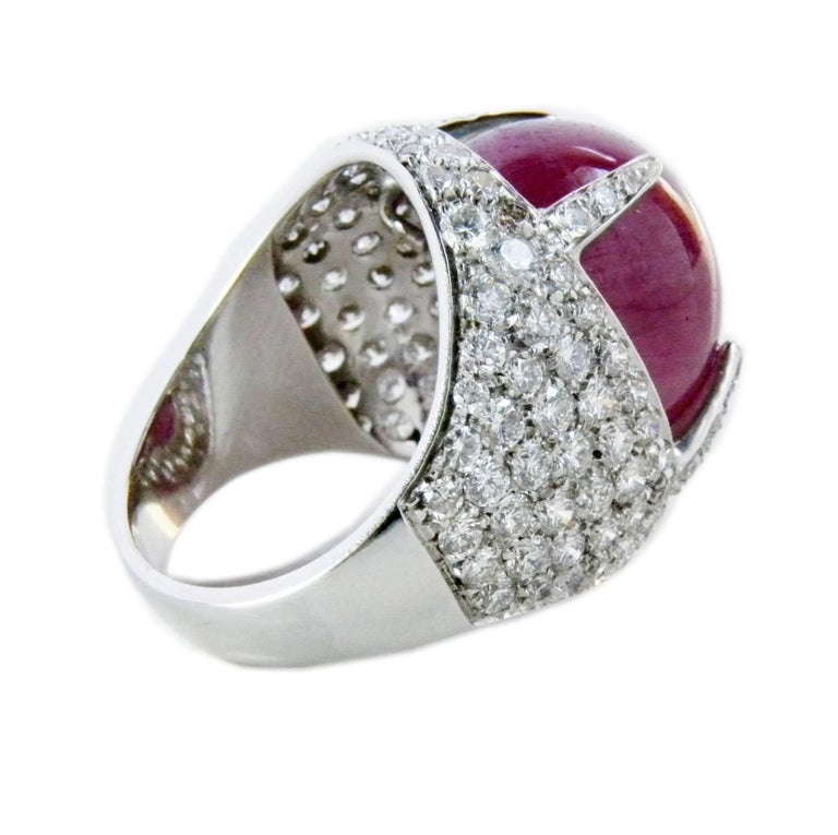 Oval Cut Berca 14.20 Carat Natural Ruby Oval Cabochon White Diamond Cocktail Ring For Sale