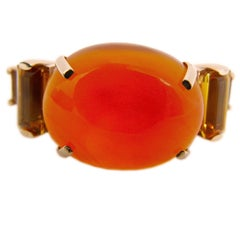 One-of-a-Kind 15 Carat Natural Carnelian Cabochon Citrine Baguette Cocktail Ring