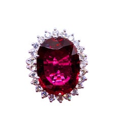 GIA Certified 9.76 Carat Red Oval Tourmaline Diamond Engagement Cocktail Ring