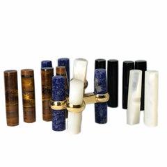 Interchangeable Natural Semiprecious Stones Baton Set 18 Karat Gold Cufflinks