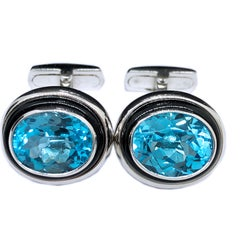 One-of-a-Kind 8.97 Carat Oval Blue Topaz Hand Inlaid Onyx White Gold Cufflinks