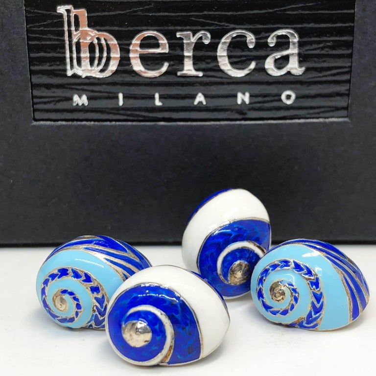 Blue White Light Blue Hand Enameled Seashell Shaped Sterling Silver Cufflinks For Sale 1