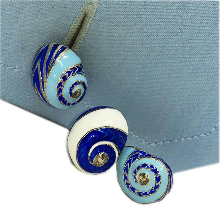 Contemporary Blue White Light Blue Hand Enameled Seashell Shaped Sterling Silver Cufflinks For Sale