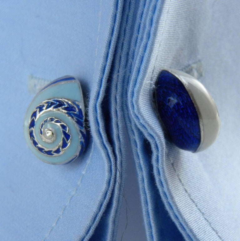 Blue White Light Blue Hand Enameled Seashell Shaped Sterling Silver Cufflinks For Sale 2