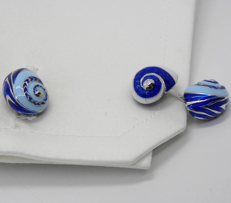 Blue White Light Blue Hand Enameled Seashell Shaped Sterling Silver Cufflinks For Sale 5