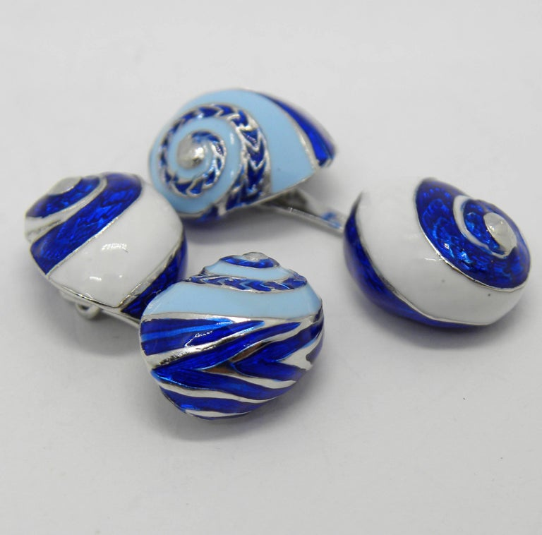 Blue White Light Blue Hand Enameled Seashell Shaped Sterling Silver Cufflinks For Sale 7