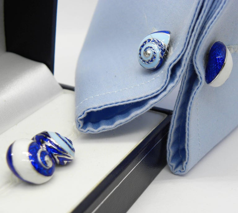 Blue White Light Blue Hand Enameled Seashell Shaped Sterling Silver Cufflinks For Sale 9
