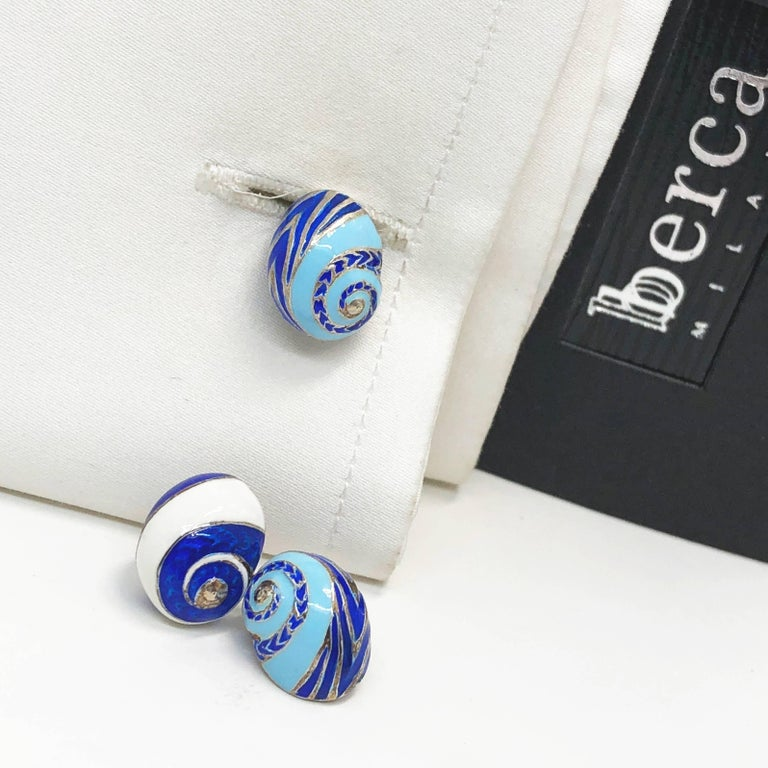 Blue White Light Blue Hand Enameled Seashell Shaped Sterling Silver Cufflinks For Sale 10
