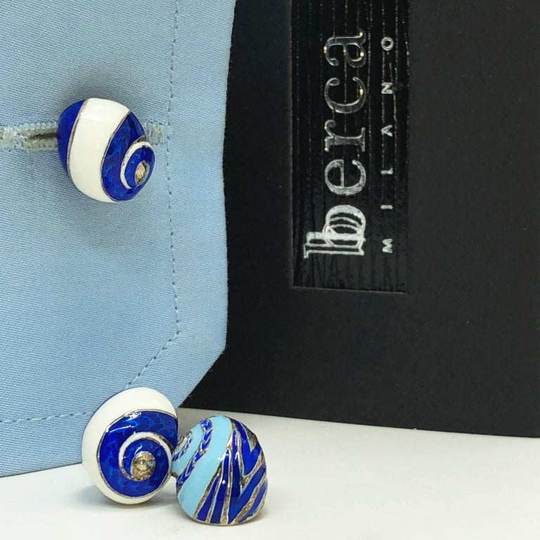 Blue White Light Blue Hand Enameled Seashell Shaped Sterling Silver Cufflinks For Sale 12