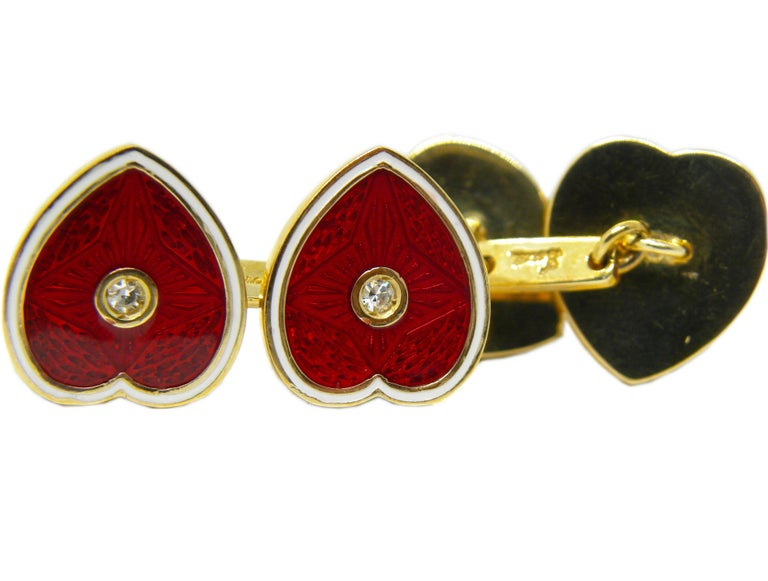 Diamond Red White Champlevé Enameled Heart Shaped Gold Cufflinks For Sale 1