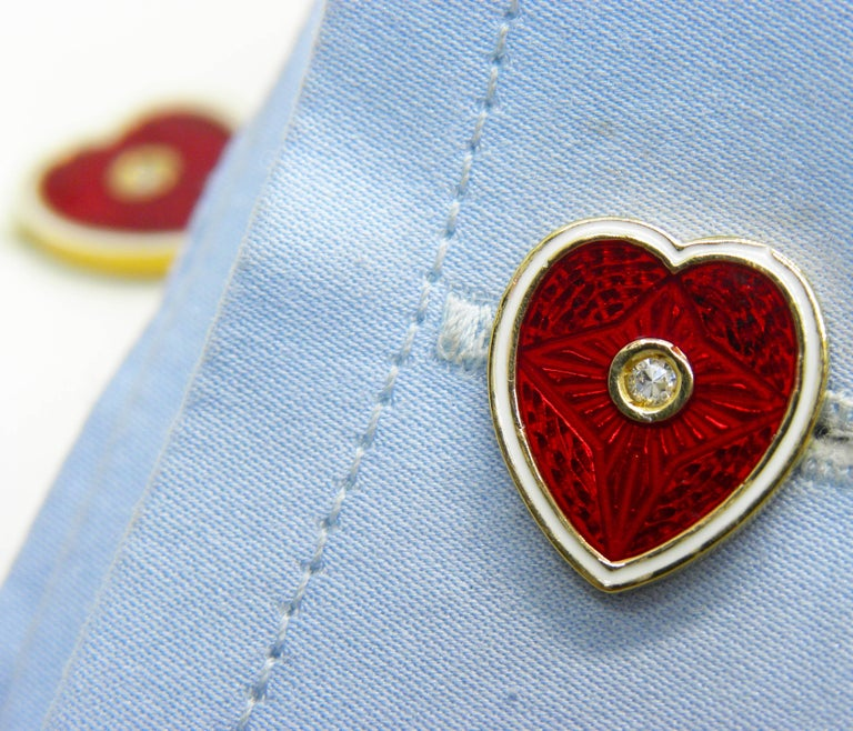 Art Nouveau  Diamond Red White Champlevé Enameled Heart Shaped Gold Cufflinks For Sale