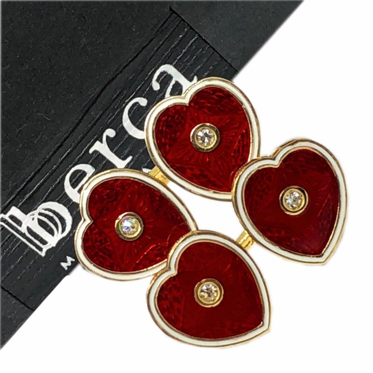 Diamond Red White Champlevé Enameled Heart Shaped Gold Cufflinks For Sale 2