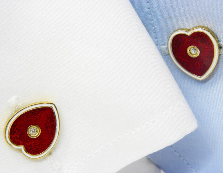 Diamond Red White Champlevé Enameled Heart Shaped Gold Cufflinks For Sale 3