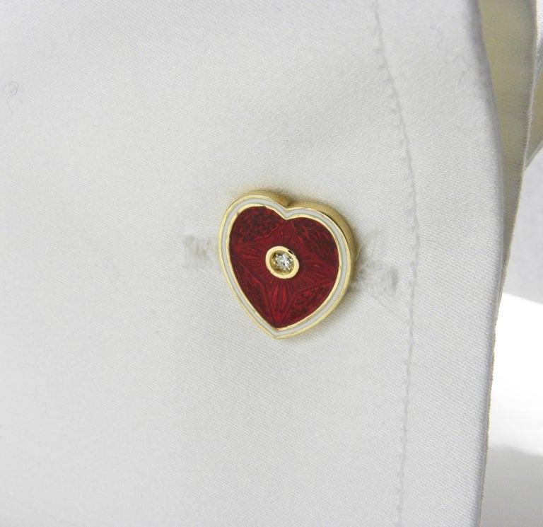 Diamond Red White Champlevé Enameled Heart Shaped Gold Cufflinks In New Condition For Sale In Valenza, IT