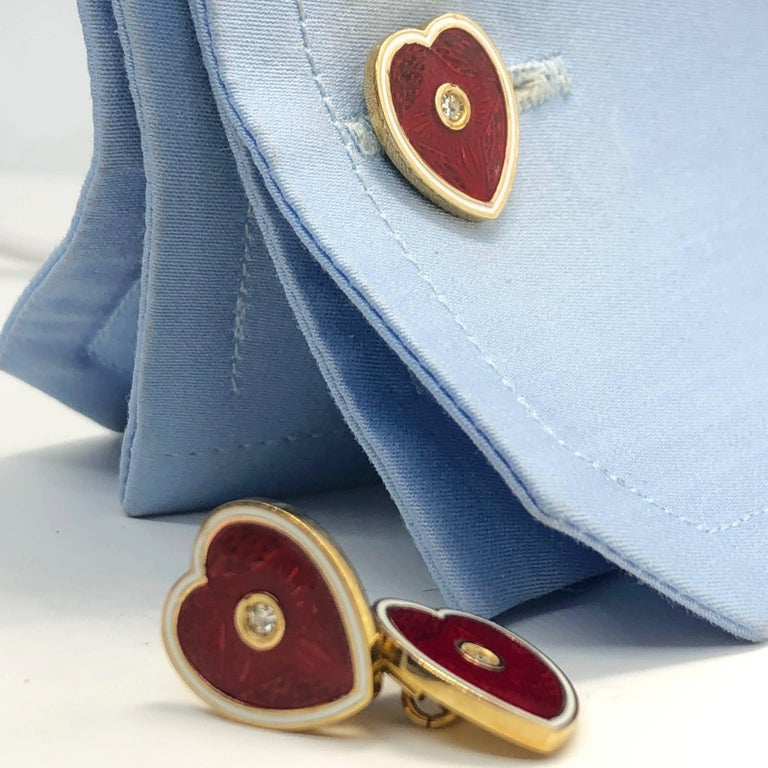 Diamond Red White Champlevé Enameled Heart Shaped Gold Cufflinks For Sale 4