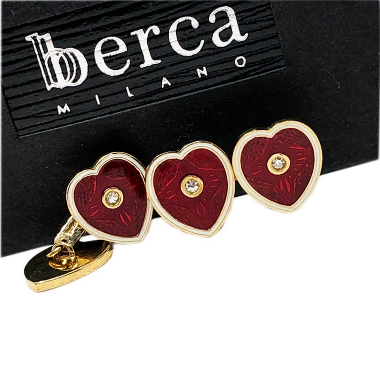 Diamond Red White Champlevé Enameled Heart Shaped Gold Cufflinks For Sale 5