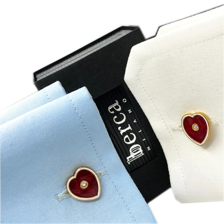 Diamond Red White Champlevé Enameled Heart Shaped Gold Cufflinks For Sale 9