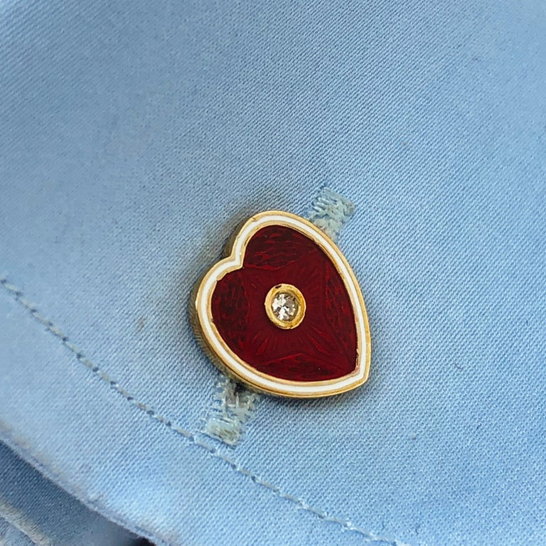 Diamond Red White Champlevé Enameled Heart Shaped Gold Cufflinks For Sale 10