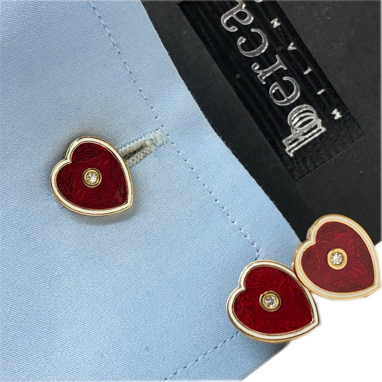 Diamond Red White Champlevé Enameled Heart Shaped Gold Cufflinks For Sale 11