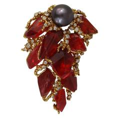 Gilbert Albert Modernist Tahitian Pearl Diamond Gold Pendant Brooch Large