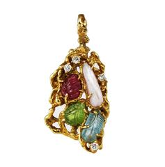 Arthur King Free Form Pearl Ruby Gold Pendant Brooch