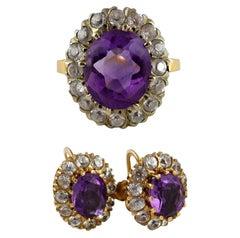 Vintage Amethyst 14 Karat Gold Ring Earrings Set