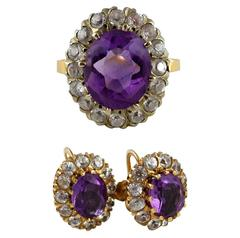 Vintage Amethyst 14 Karat Gold Ring Earrings Set