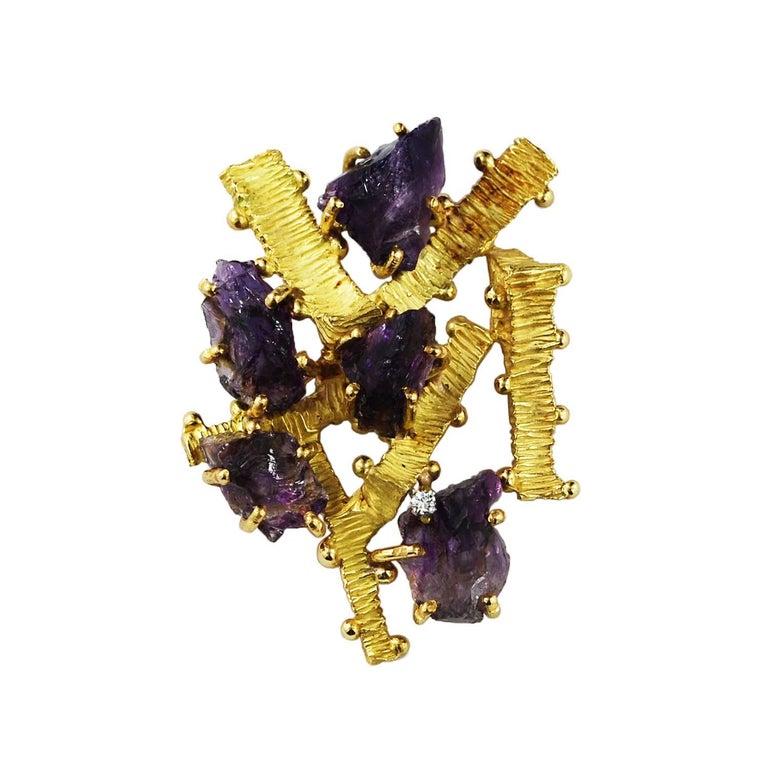 Vintage 18 Karat Gold Amethyst Crystal Pin Brooch