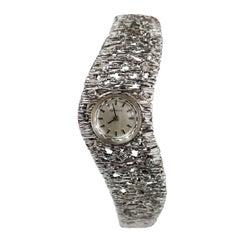 Vintage 14K White Brushed Gold Diamond Watch Bracelet  Swiss Certina